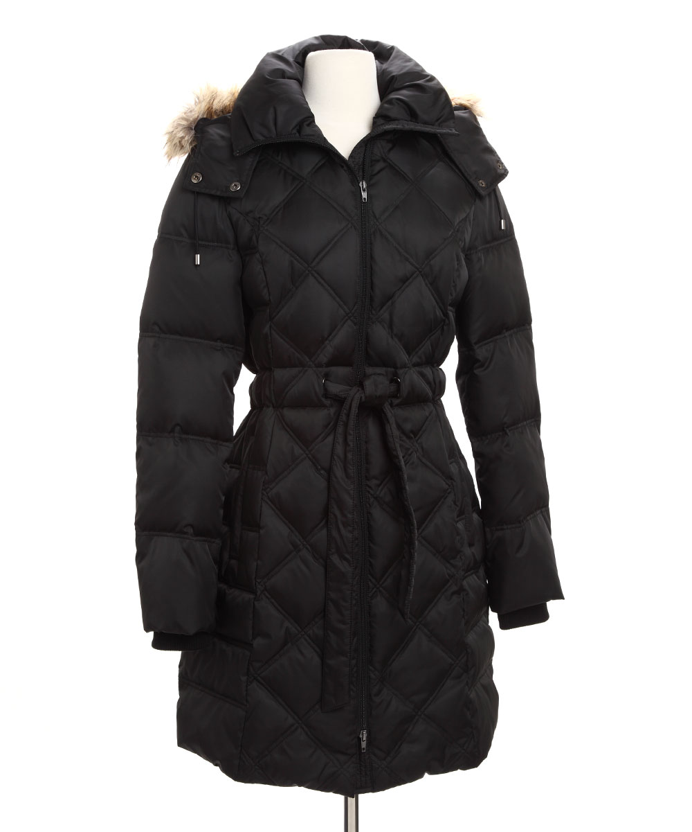 Kenneth Cole Outerwear- Womens - Black Belted Puffer Coat | zulily