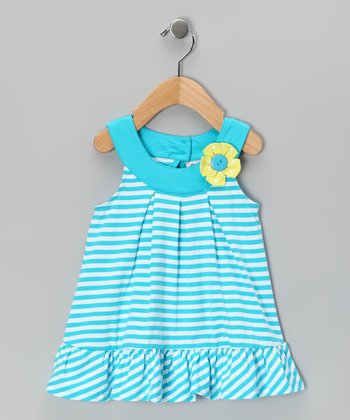 Blue Stripe Yoke Dress - Infant & Girls