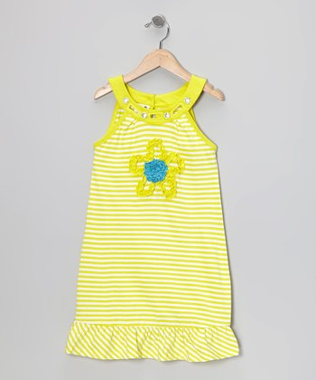 Yellow Stripe Flower Dress - Infant & Girls