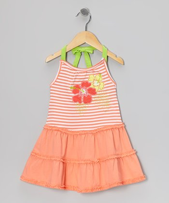Coral Stripe Halter Dress - Toddler