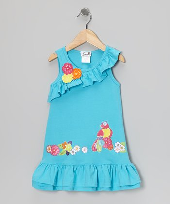 Blue Tropical Bird Dress - Infant, Toddler & Girls