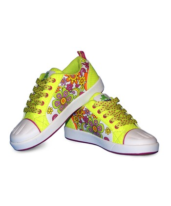 Yellow & Purple Flower Paintable Sneakers