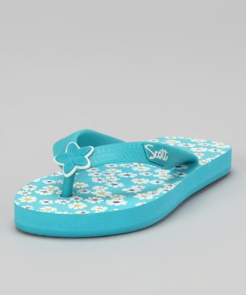 Light Blue Floral Pua Flip-Flop - Kids