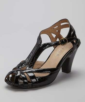 Black Patent Carla Peep-Toe Shoe