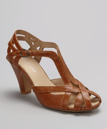 Tan Carla Peep-Toe Shoe