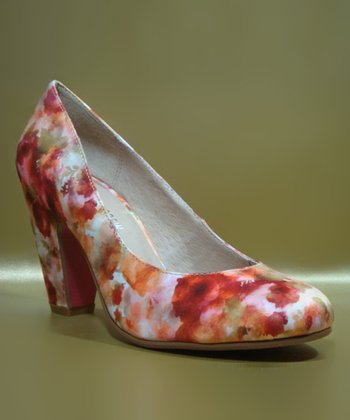 Red & Off-White Floral Gaston Pump