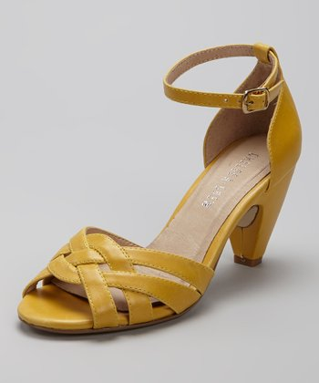 Yellow Nirvana Ankle-Strap Peep-Toe Shoe
