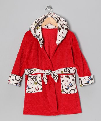 Red Western Lil' Dude Robe - Toddler & Boys