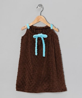 Brown & Turquoise Drawstring Shift Dress - Toddler & Girls
