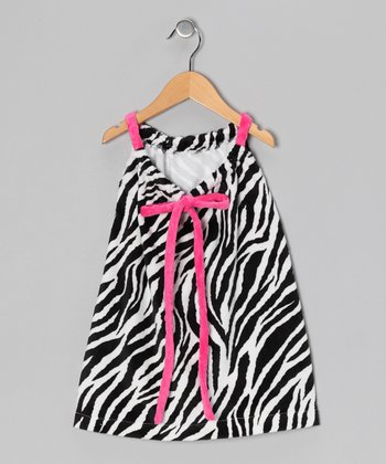 Zebra Drawstring Shift Dress - Toddler & Girls