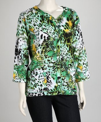 Green & Yellow Leopard Plus-Size Cardigan