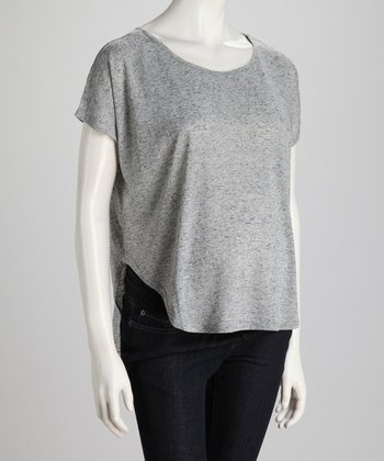 Gray Two-Tone Maternity Top