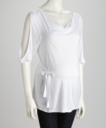 White Cutout Maternity Tunic