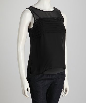 Black Ruffle High-Neck Maternity Tank