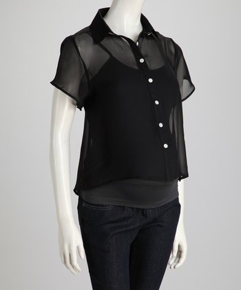 Black Sheer Maternity Button-Up
