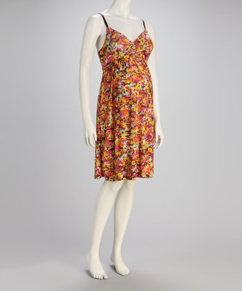 Brown Floral Maternity Dress - Women