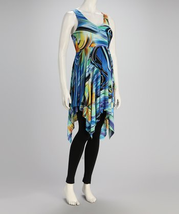 Blue Swirl Maternity Handkerchief Tunic