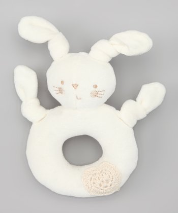 Cream Pure Love Bunny Plush Rattle