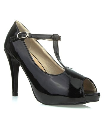 Black Patent Anne T-Strap Peep-Toe Pump