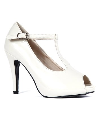 Light Beige Patent Anne T-Strap Peep-Toe Pump