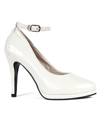 Light Beige Patent Elena Ankle-Strap Pump