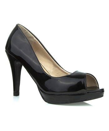 Black Patent Jackie Peep-Toe Pump