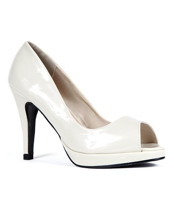 Light Beige Patent Jackie Peep-Toe Pump