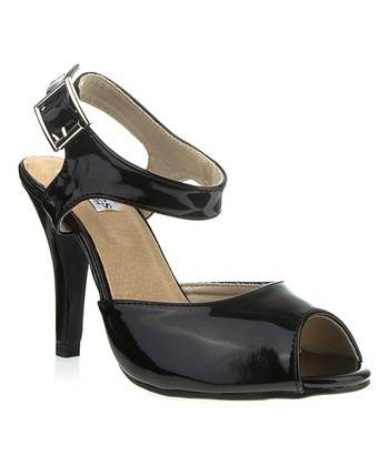 Black Patent Stacy Peep-Toe Sandal