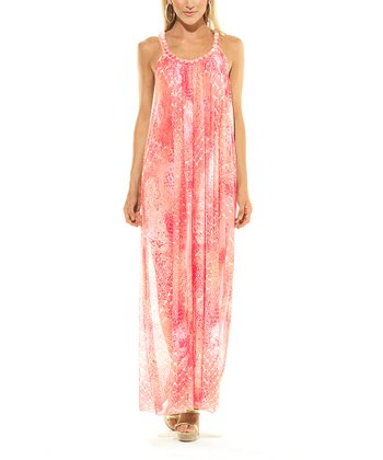 Coral Snakeskin Rochelle Maxi Cover-Up