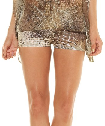 Gold Snakeskin Mandy Cover-Up Shorts