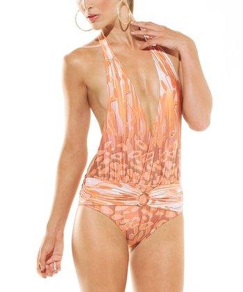 Bronze Animal Sicily Low-Plunge One-Piece