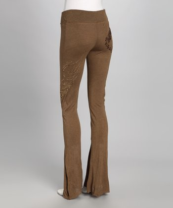 Tobacco Goddess Wool-Blend Wide-Leg Pants
