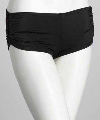 Black Bella Ruched Boyshort Bikini Bottoms