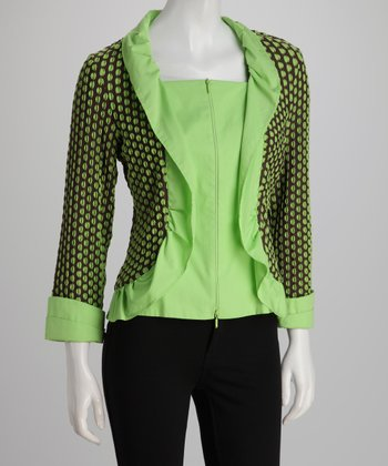 Brown & Lime Polka Dot Zip-Up Cardigan
