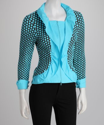 Chocolate & Turquoise Polka Dot Zip-Up Cardigan