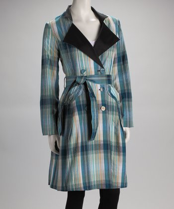 Blue Plaid Trench Coat