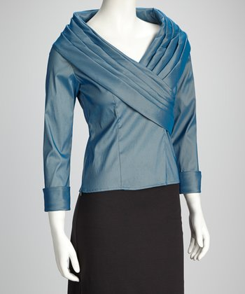 Ice Blue Pleated Collar Wrap Top