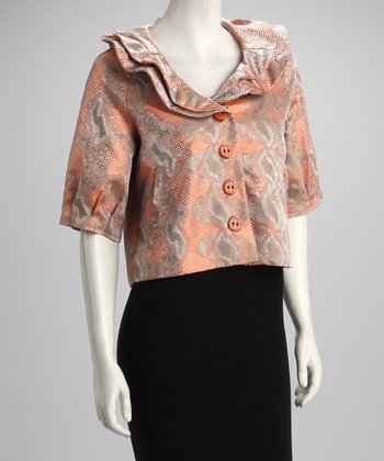 Orange Snakeskin Ruffle Jacket