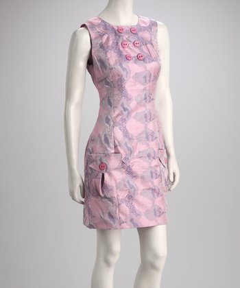 Pink Snakeskin Sleeveless Dress