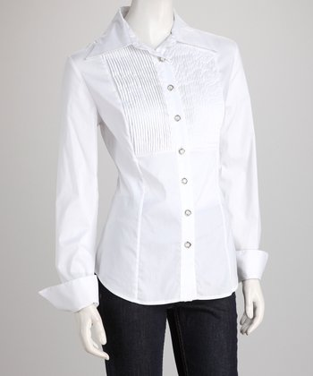 White Pleat Bib Button-Up