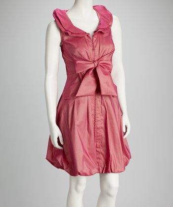 Pink Tie-Front Bubble Dress - Women