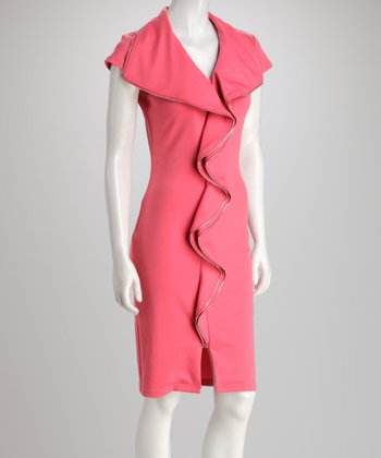 Coral Zipper Ruffle Dress