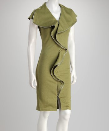 Olive Zipper Ruffle Dress