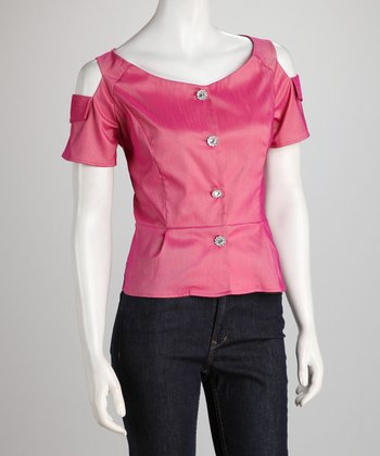 Pink Iridescent Button-Up Peplum Top