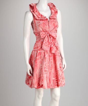 Pink Leopard Ruffle Collar Tie-Waist Dress
