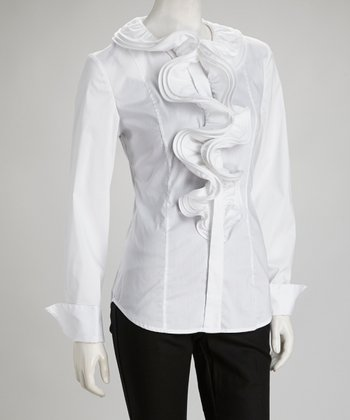 White Ruffle Button-Up