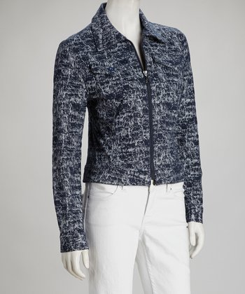 Indigo & White Zip-Up Jacket -