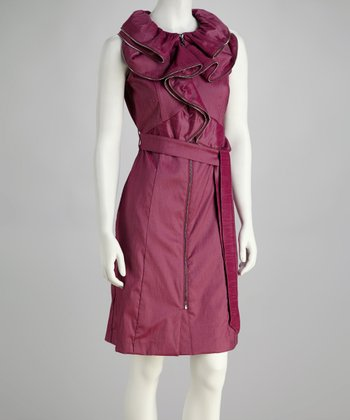 Raspberry Ruffle Zipper Tie-Waist Dress
