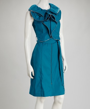 Turquoise Ruffle Zipper Tie-Waist Dress