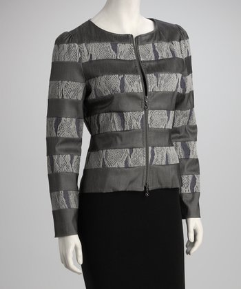 Gray Stripe Snakeskin Zip-Up Jacket - Women